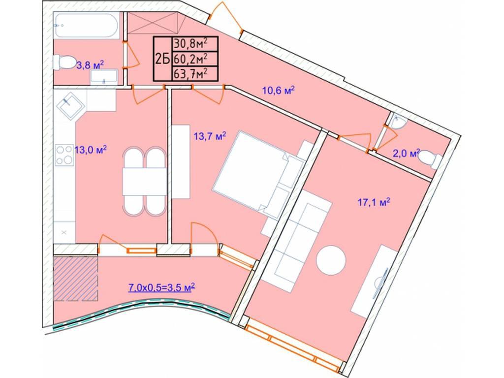 2-комнатная квартира, 70.00 м2, 55300 у.е.