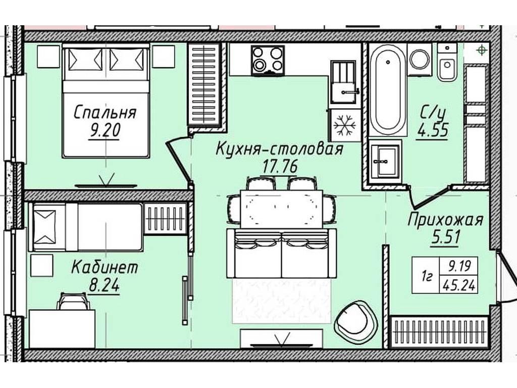 1-комнатная квартира, 45.40 м2, 41768 у.е.