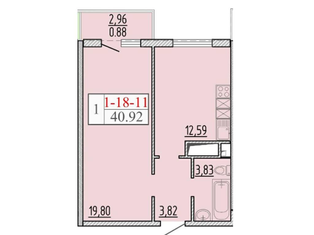 1-комнатная квартира, 41.00 м2, 34000 у.е.