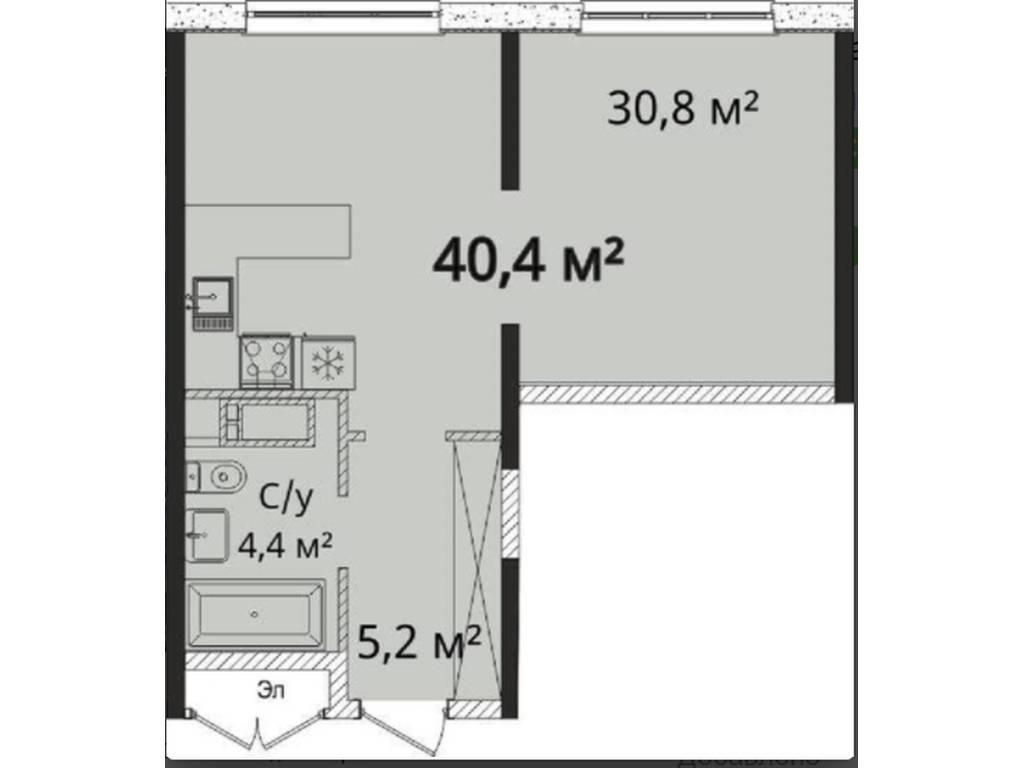 1-комнатная квартира, 40.50 м2, 41000 у.е.