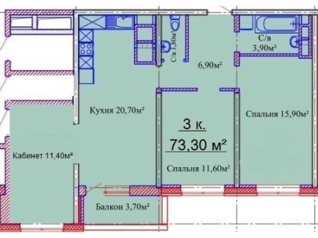 3-комнатная квартира, 73.00 м2, 66500 у.е.