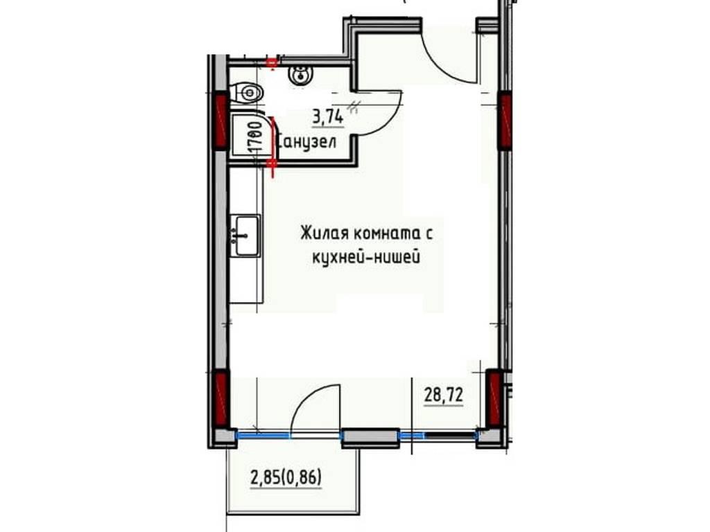1-комнатная квартира, 33.32 м2, 38318 у.е.
