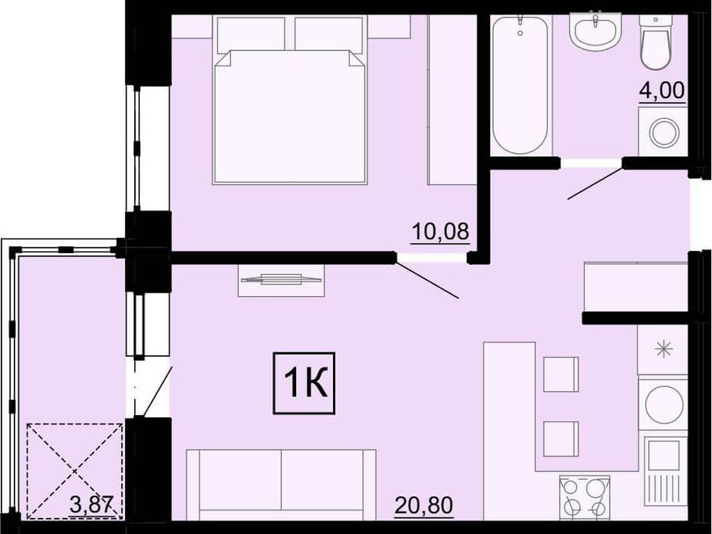 1-комнатная квартира, 38.00 м2, 30000 у.е.