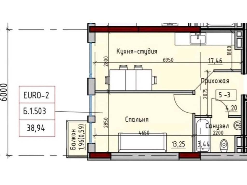 1-комнатная квартира, 38.94 м2, 37000 у.е.