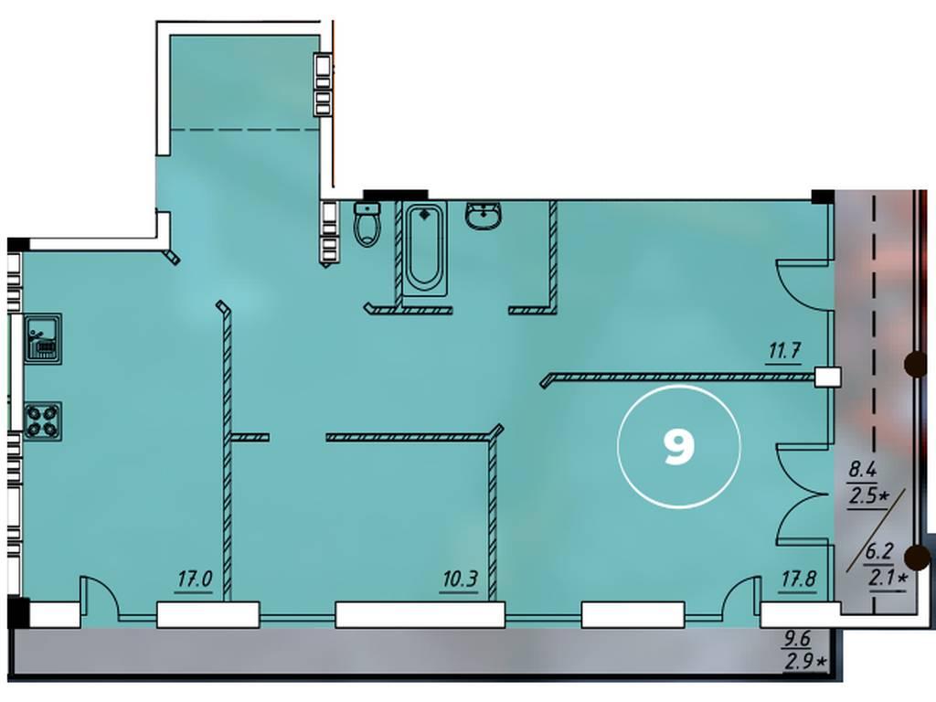 3-комнатная квартира, 83.30 м2, 62930 у.е.