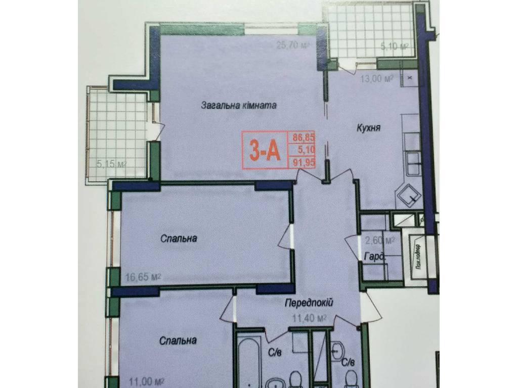 3-комнатная квартира, 91.95 м2, 64365 у.е.