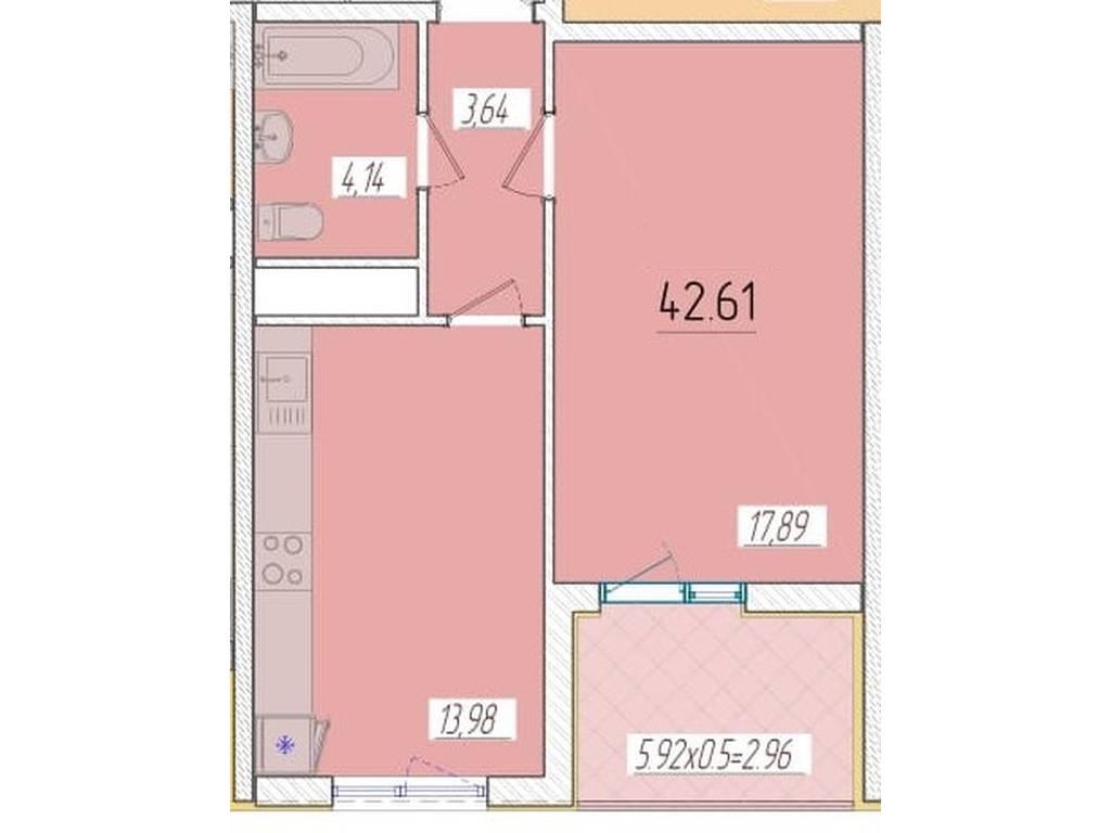 1-комнатная квартира, 42.61 м2, 37368 у.е.