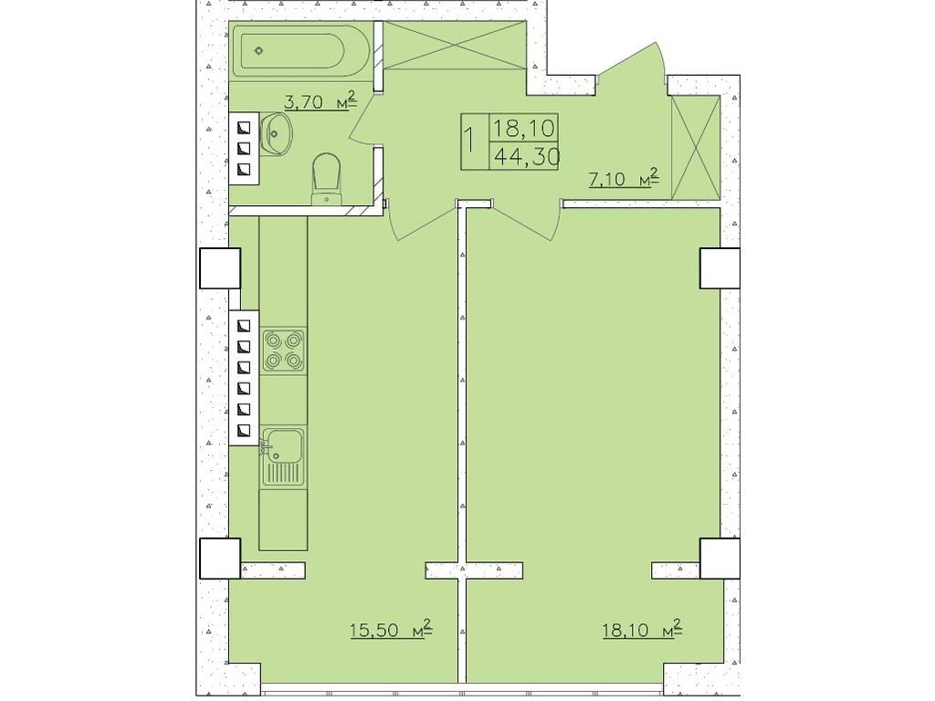 1-комнатная квартира, 44.40 м2, 67500 у.е.