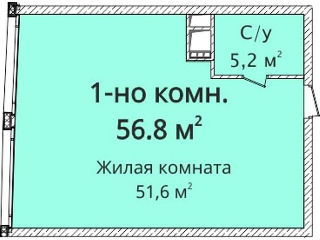 1-комнатная квартира, 56.80 м2, 80000 у.е.