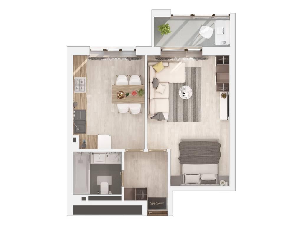 1-комнатная квартира, 46.62 м2, 30116 у.е.