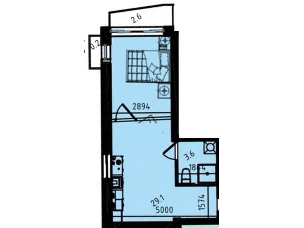 1-комнатная квартира, 34.50 м2, 25082 у.е.