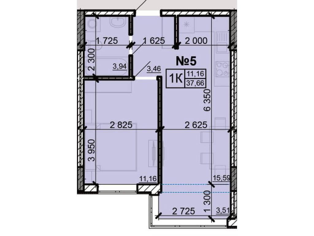 1-комнатная квартира, 37.66 м2, 22784 у.е.