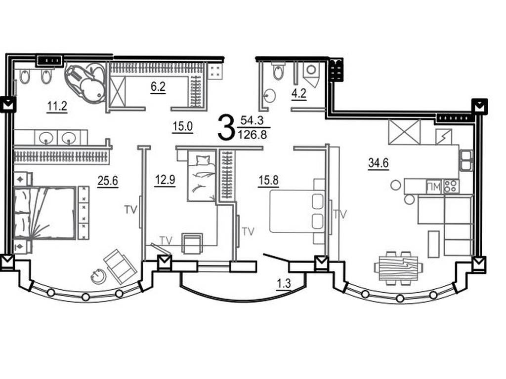 3-комнатная квартира, 126.80 м2, 317000 у.е.