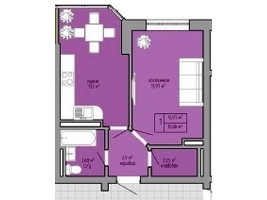 1-комнатная квартира, 37.20 м2, 25000 у.е.