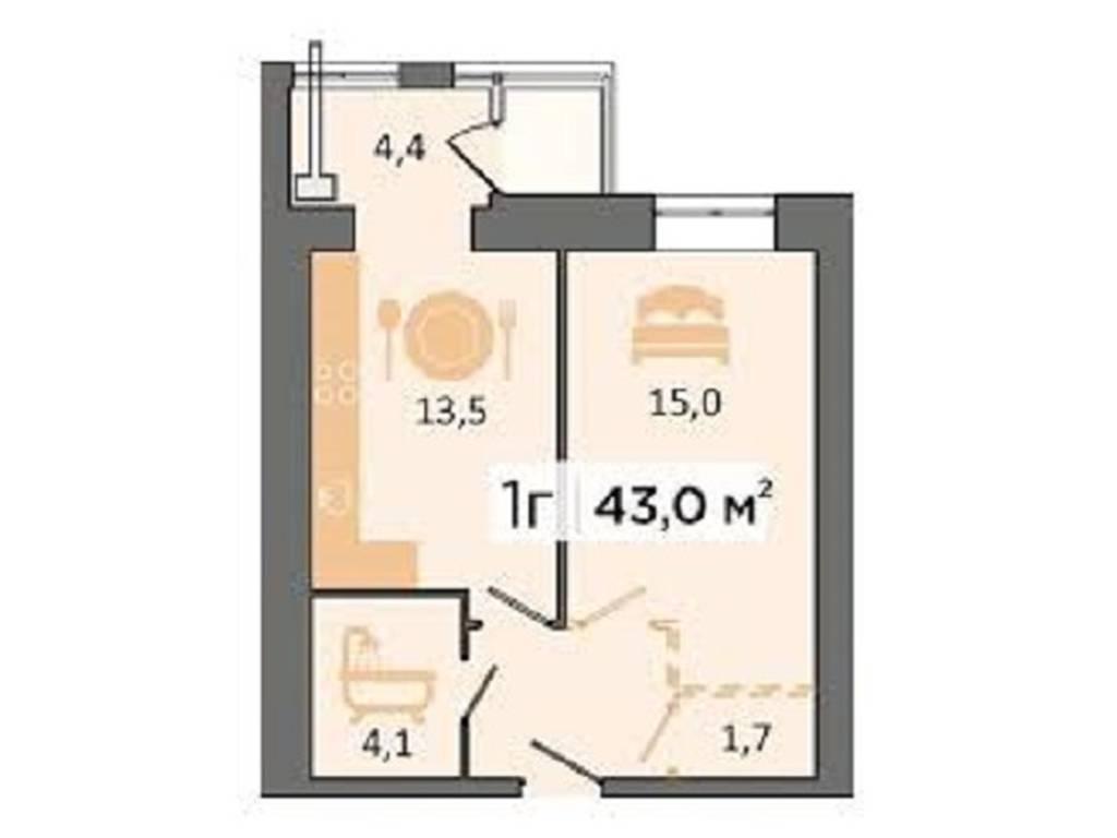 1-комнатная квартира, 32.00 м2, 16000 у.е.