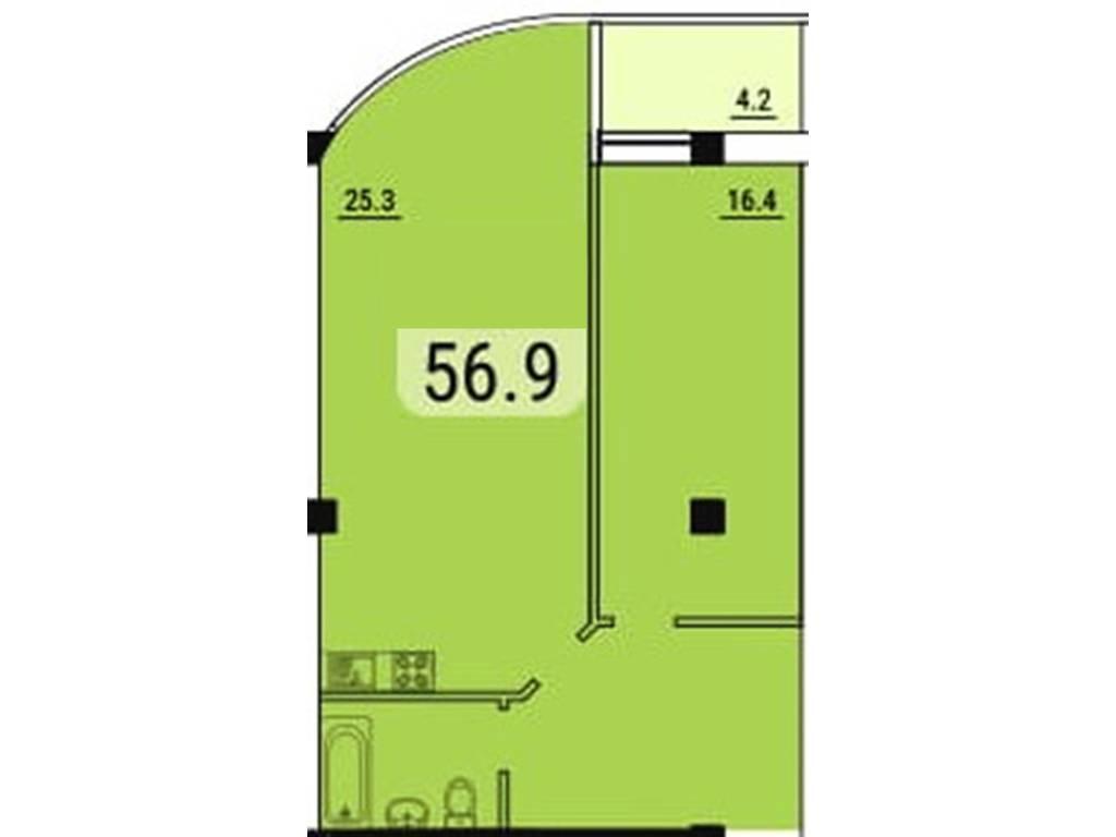 1-комнатная квартира, 56.90 м2, 54330 у.е.