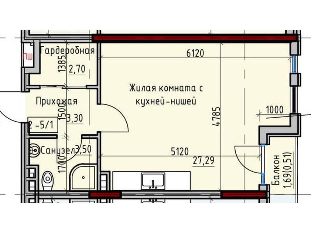 1-комнатная квартира, 37.30 м2, 35435 у.е.