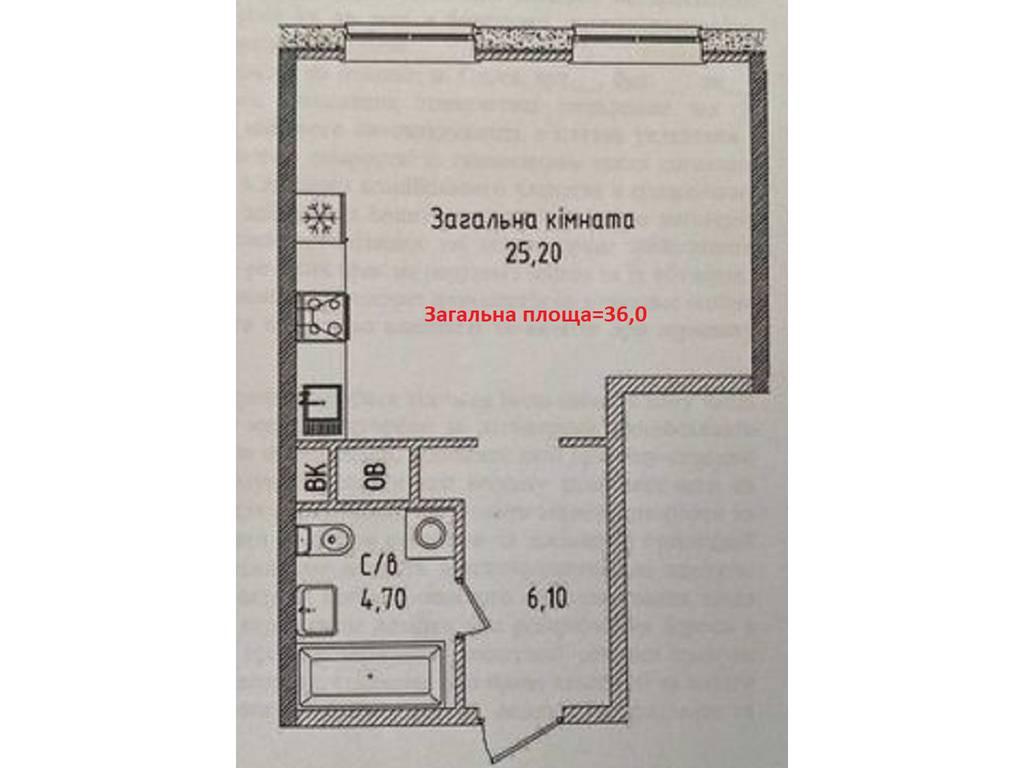 1-комнатная квартира, 36.00 м2, 41500 у.е.