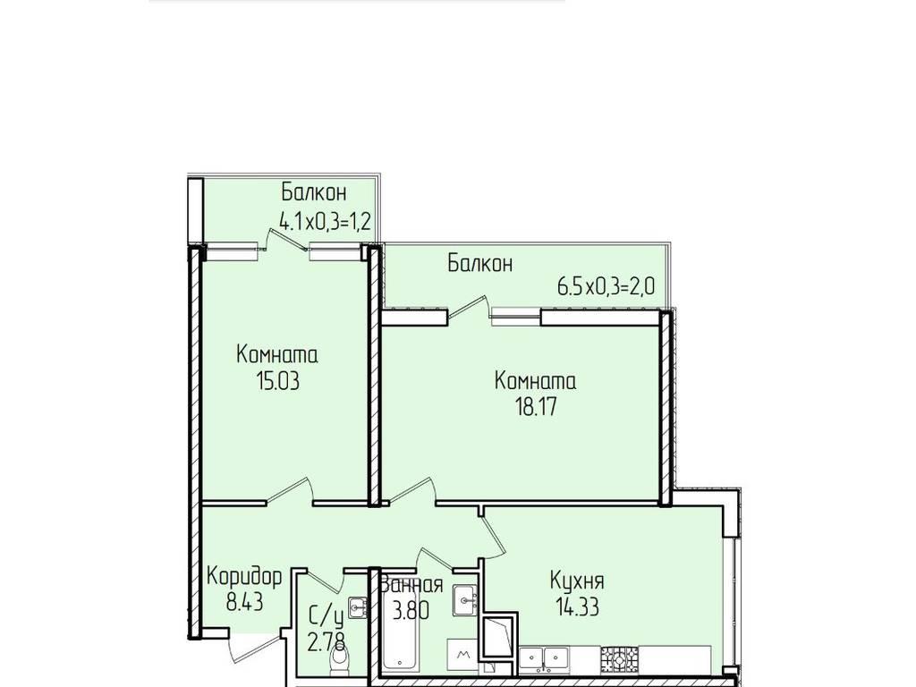 2-комнатная квартира, 66.50 м2, 72820 у.е.