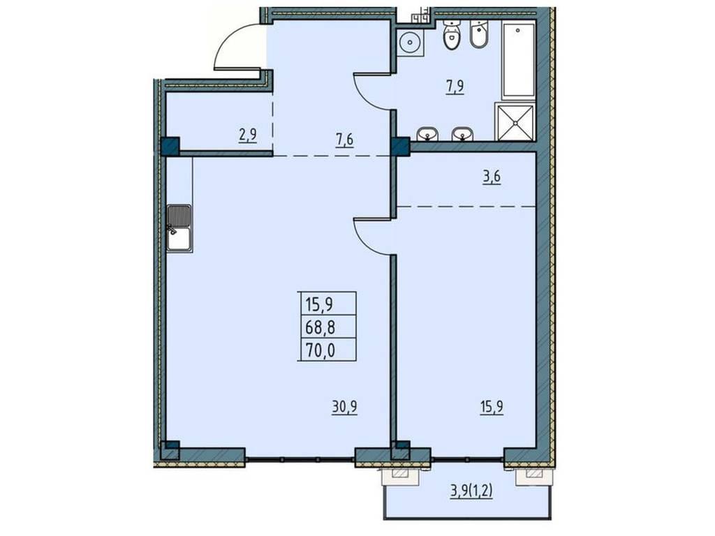 1-комнатная квартира, 70.00 м2, 123000 у.е.