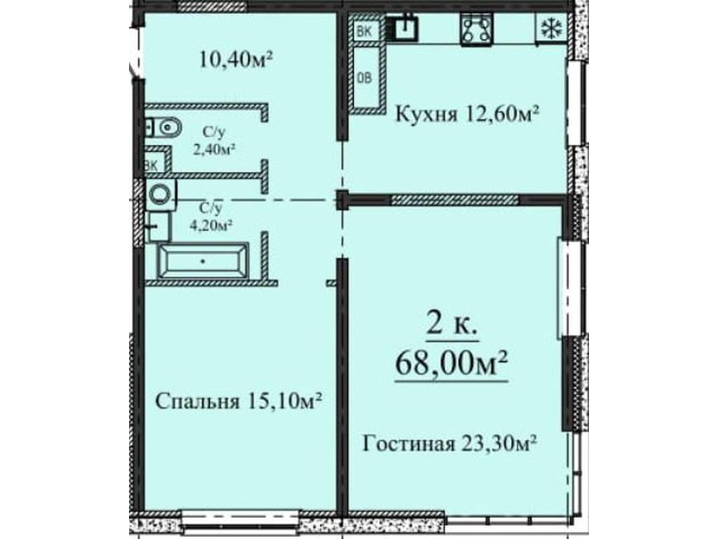 2-комнатная квартира, 68.00 м2, 66100 у.е.