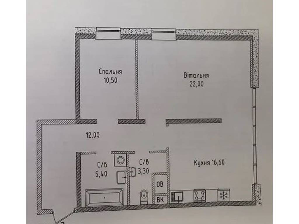 2-комнатная квартира, 68.00 м2, 75500 у.е.