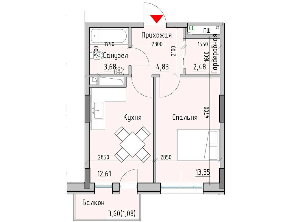 1-комнатная квартира, 38.03 м2, 34988 у.е.