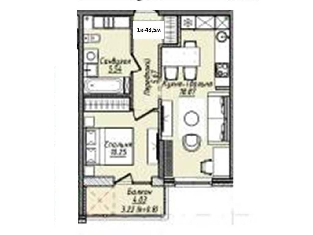 1-комнатная квартира, 43.50 м2, 34365 у.е.