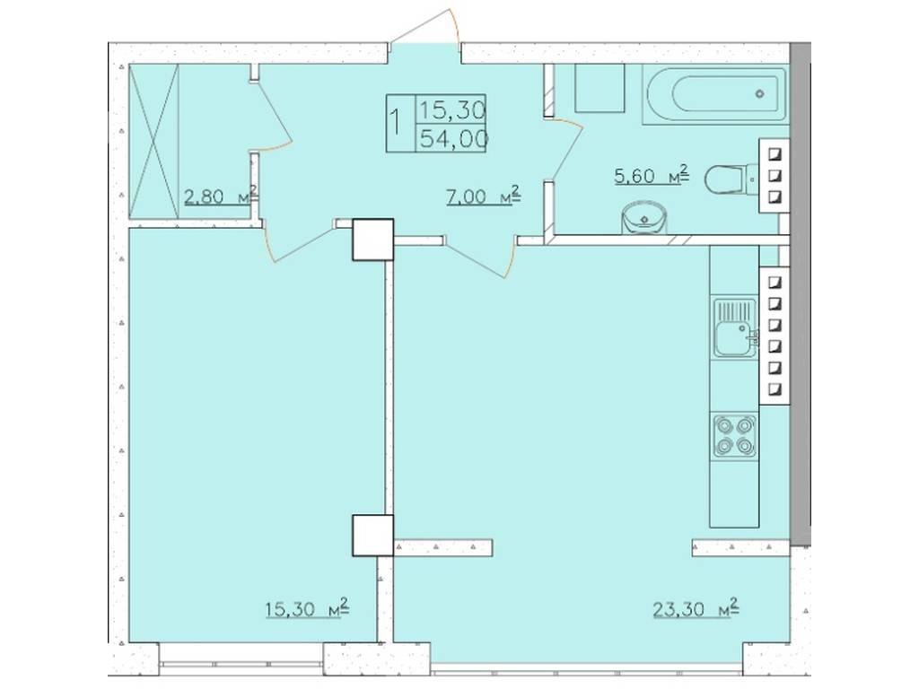 1-комнатная квартира, 54.00 м2, 70000 у.е.