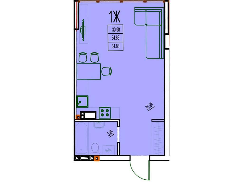 1-комнатная квартира, 31.79 м2, 28452 у.е.