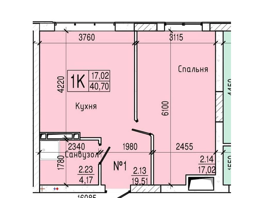 1-комнатная квартира, 40.70 м2, 33781 у.е.
