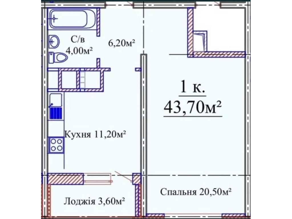1-комнатная квартира, 44.00 м2, 36500 у.е.
