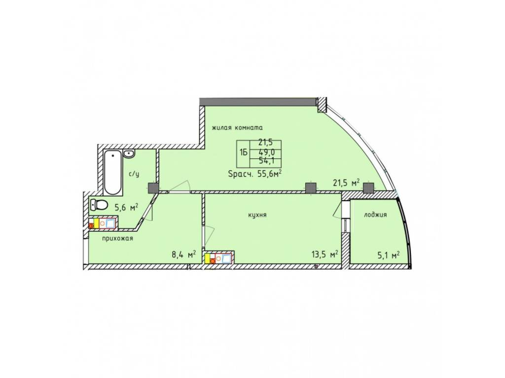 1-комнатная квартира, 59.30 м2, 65230 у.е.