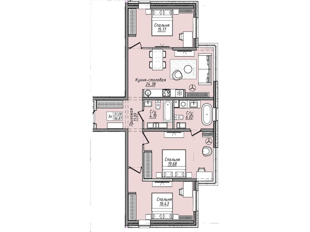 3-комнатная квартира, 96.90 м2, 106590 у.е.