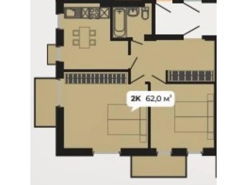 2-комнатная квартира, 66.00 м2, 61000 у.е.
