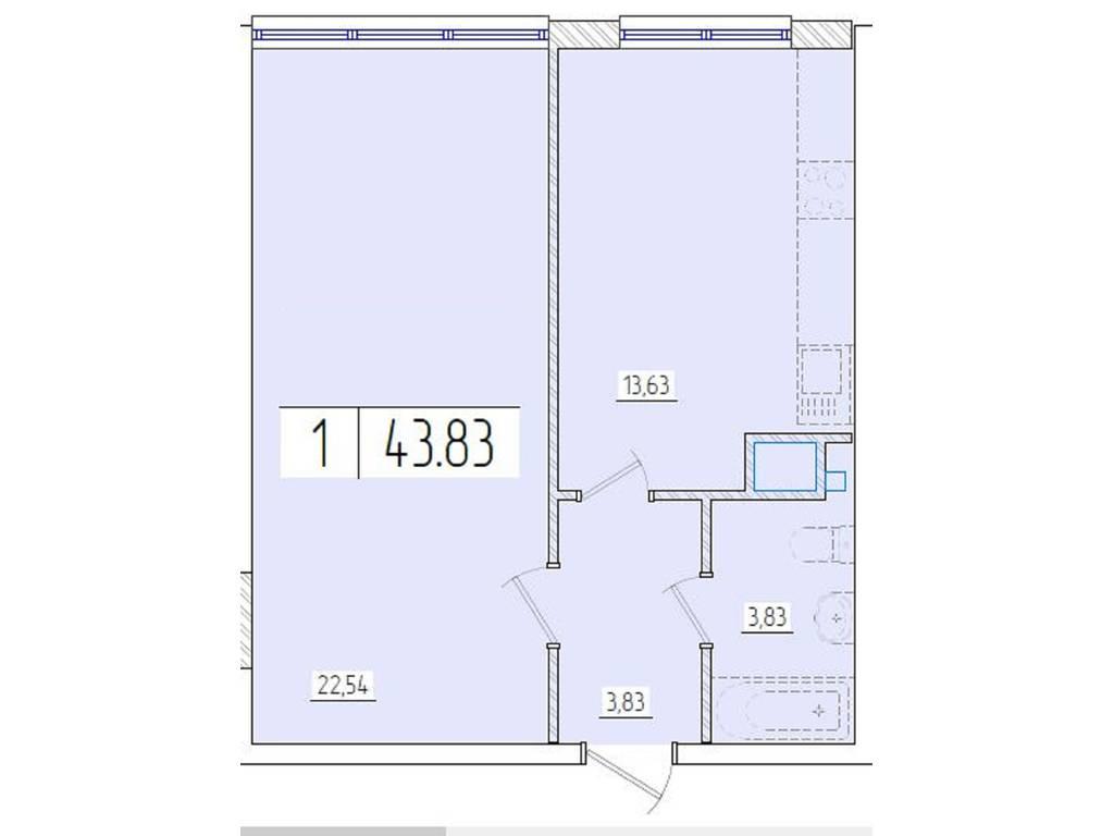 1-комнатная квартира, 43.80 м2, 33500 у.е.