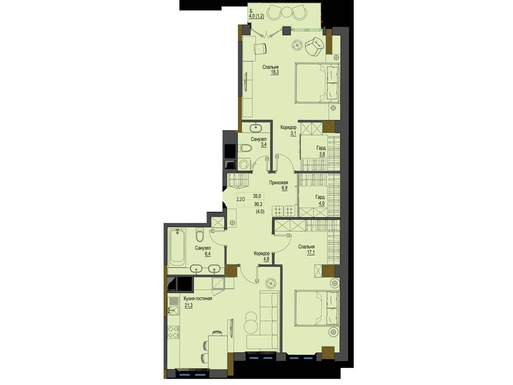 2-комнатная квартира, 90.30 м2, 117390 у.е.
