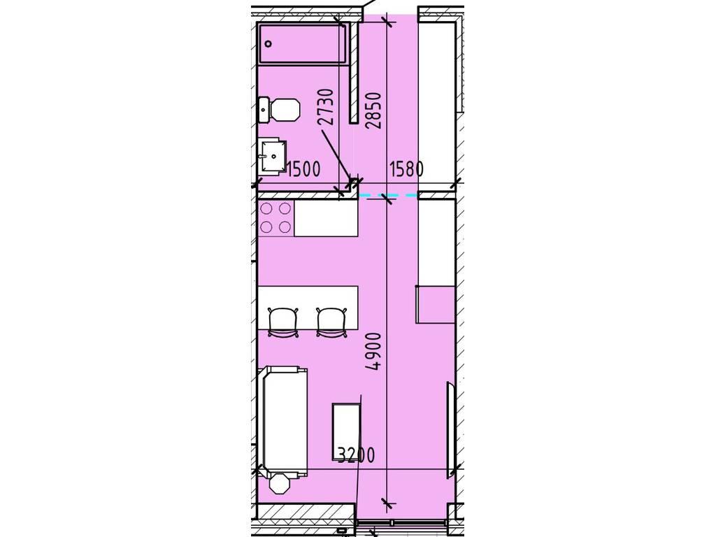 1-комнатная квартира, 25.44 м2, 31800 у.е.