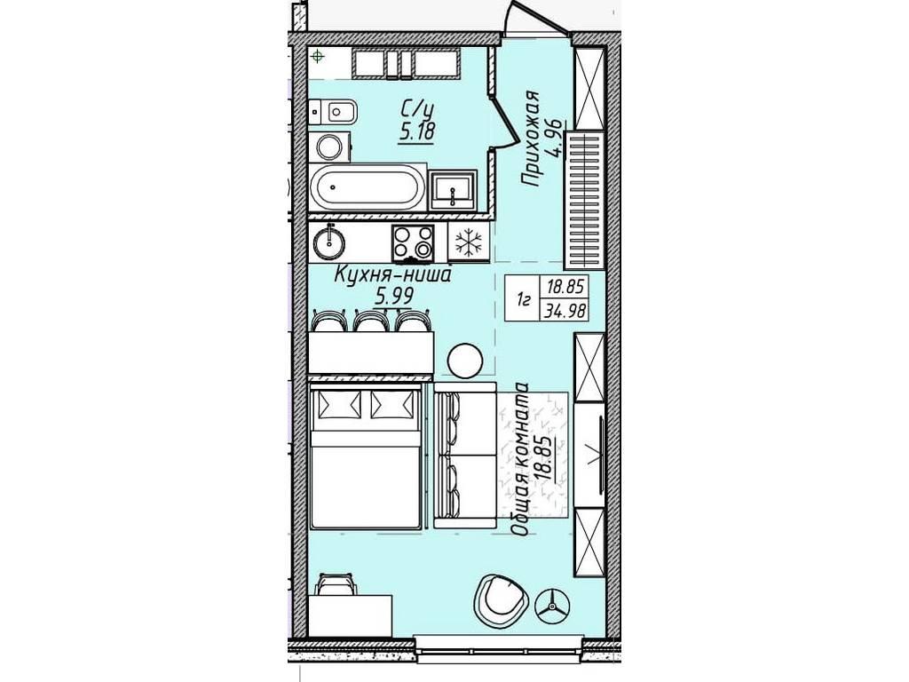 1-комнатная квартира, 35.00 м2, 36050 у.е.