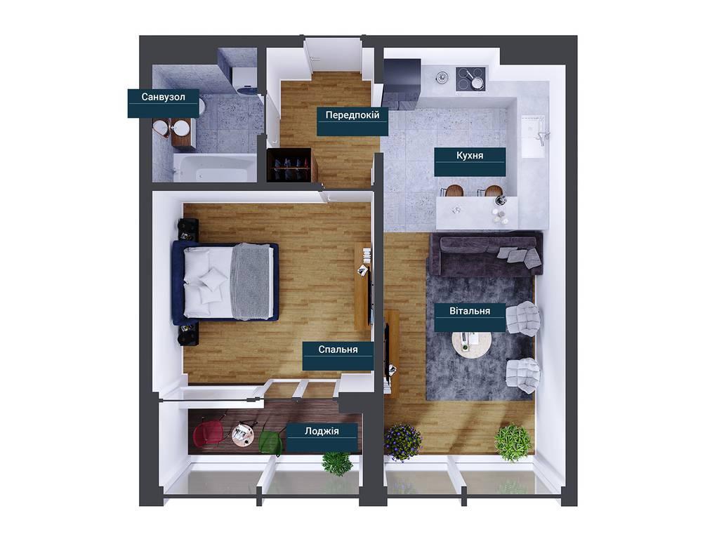 1-комнатная квартира, 46.41 м2, 95326 у.е.