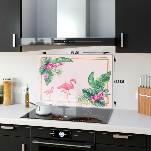 Flamingo & Tropik Yapraklar | Ocak Arkası Koruyucu | 52cm X 60cm