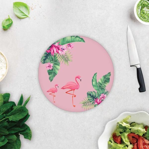 Tropik Yapraklar & Flamingo  | Cam Kesme Tahtası  - Cam Kesme Tablası | Çap 32cm