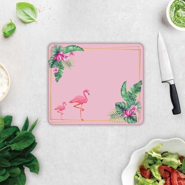 Tropik Yapraklar & Flamingo  | Cam Kesme Tahtası  - Cam Kesme Tablası | 29cm X 34cm