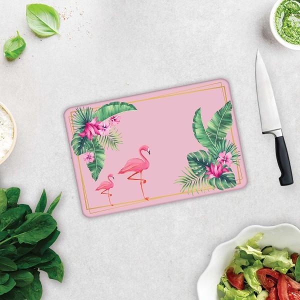 Tropik Yapraklar & Flamingo  | Cam Kesme Tahtası  - Cam Kesme Tablası | 20cm X 30cm