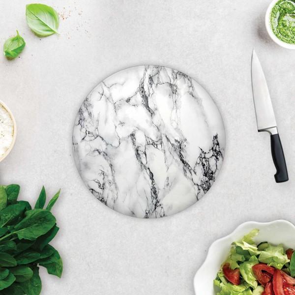 Beyaz Mermer Görünümlü | Cam Kesme Tahtası - Cam Kesme Tablası | Çap 32cm