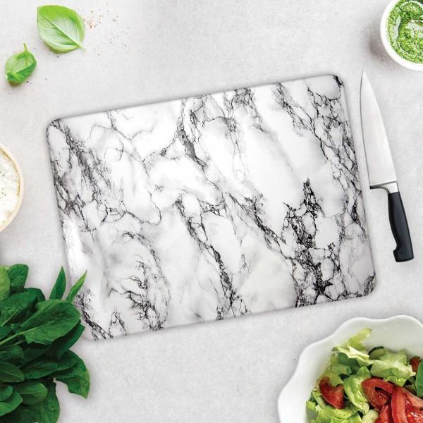 Beyaz Mermer Görünümlü | Cam Kesme Tahtası - Cam Kesme Tablası | 30cm X 40cm