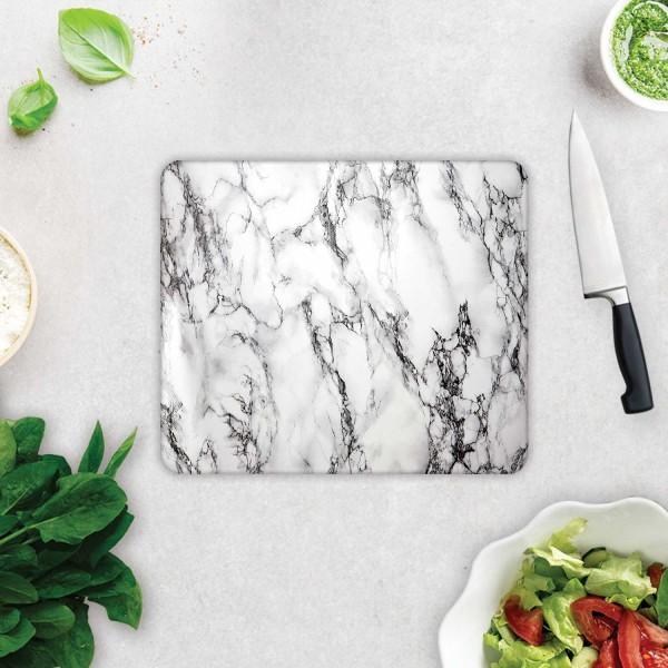 Beyaz Mermer Görünümlü | Cam Kesme Tahtası - Cam Kesme Tablası | 29cm X 34cm