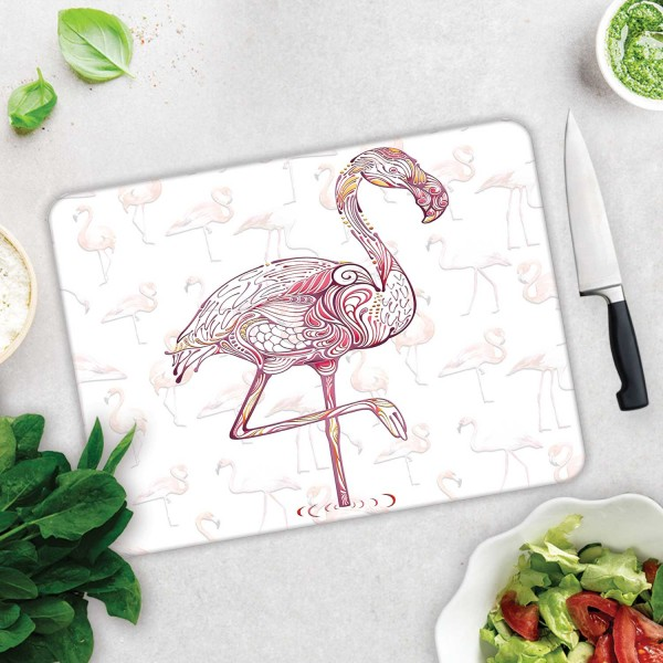 Flamingo Desen | Cam Kesme Tahtası - Cam Kesme Tablası | 30cm X 40cm
