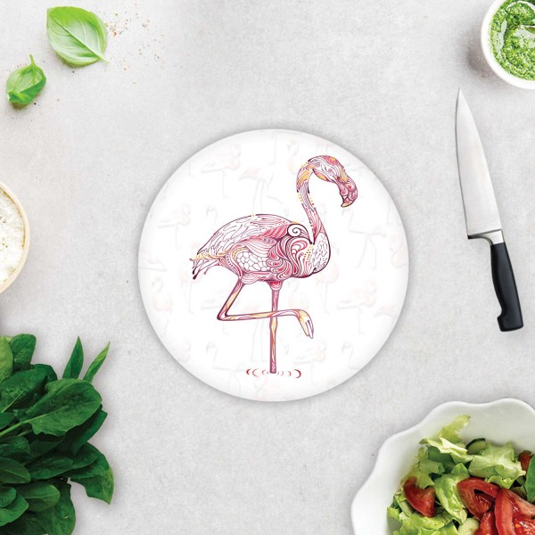 Flamingo Desen | Cam Kesme Tahtası - Cam Kesme Tablası | Çap 32cm