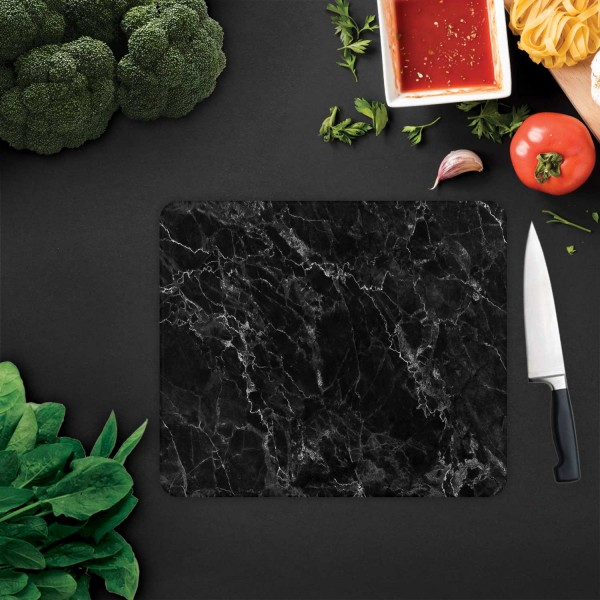 Siyah Mermer Görünümlü | Cam Kesme Tahtası - Cam Kesme Tablası | 30cm X 40cm